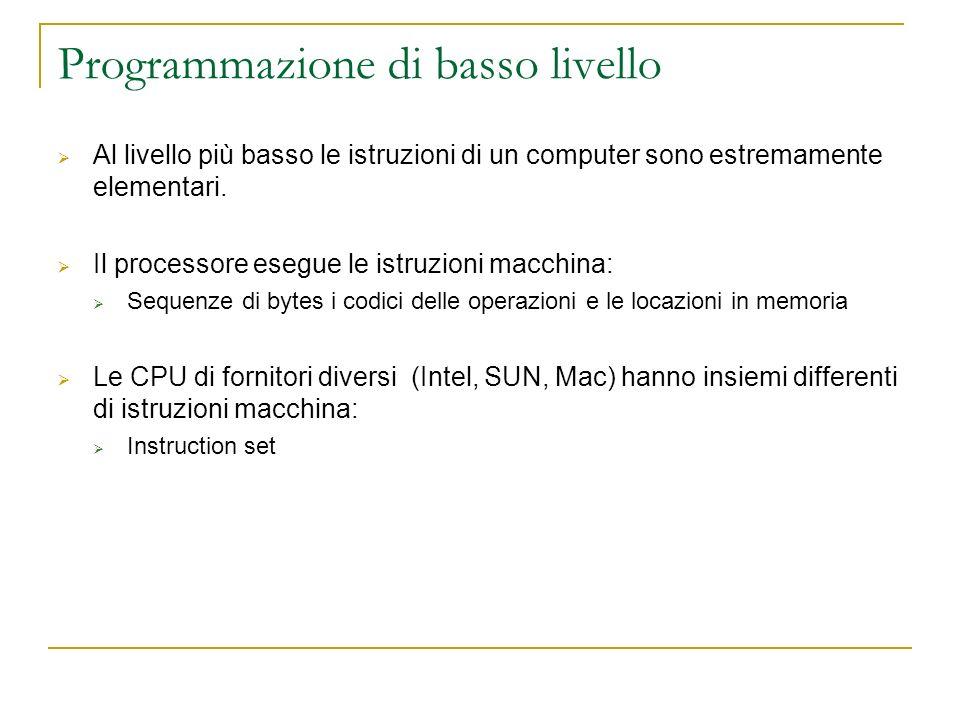 Programmazione di basso livello Al livello più basso le istruzioni di un computer sono estremamente elementari. Il processore esegue le istruzioni mac