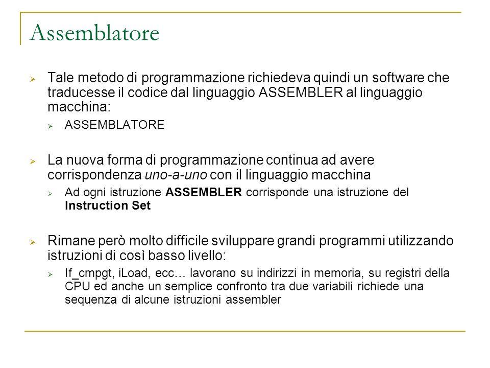 Assemblatore Tale metodo di programmazione richiedeva quindi un software che traducesse il codice dal linguaggio ASSEMBLER al linguaggio macchina: ASS