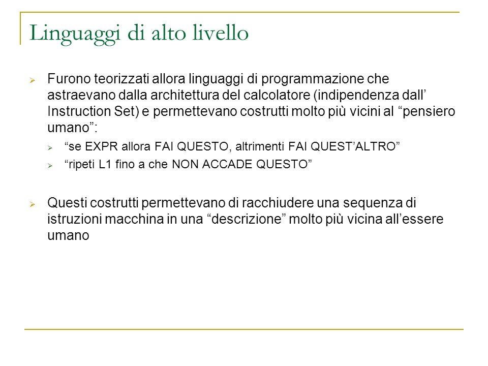 Linguaggi di alto livello Furono teorizzati allora linguaggi di programmazione che astraevano dalla architettura del calcolatore (indipendenza dall In