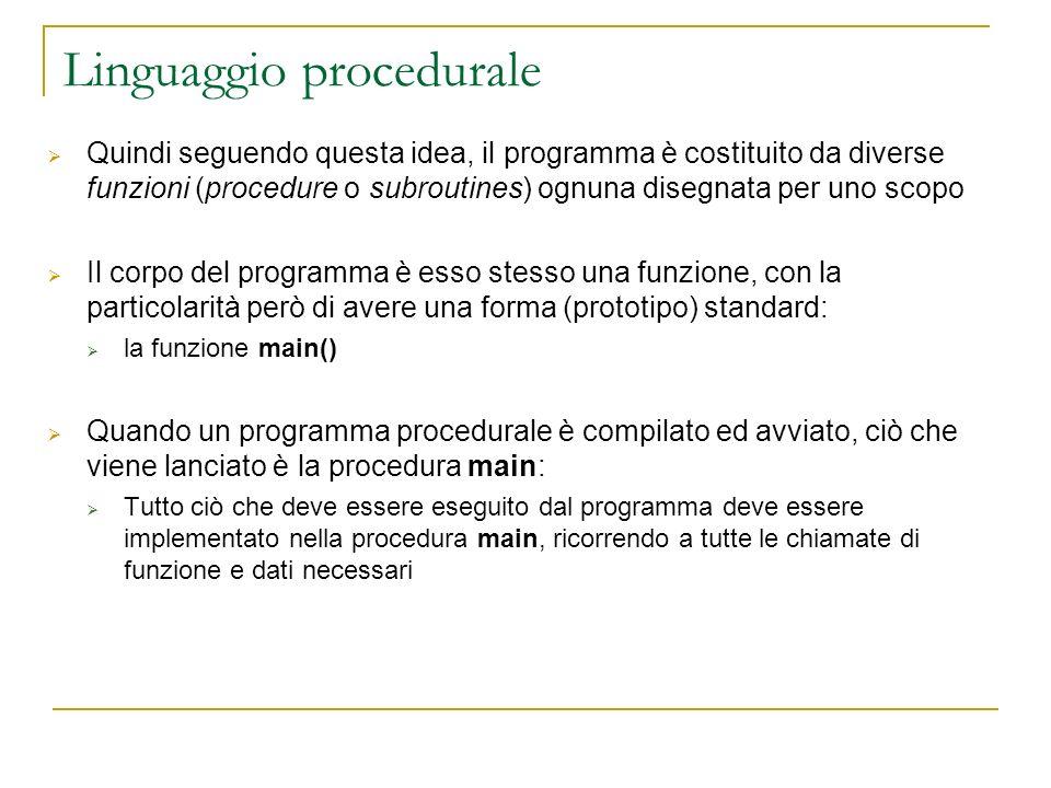 Linguaggio procedurale Quindi seguendo questa idea, il programma è costituito da diverse funzioni (procedure o subroutines) ognuna disegnata per uno s