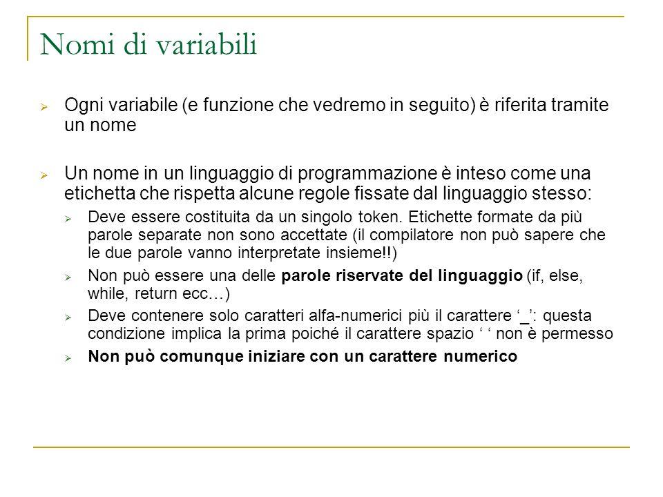 Nomi di variabili Ogni variabile (e funzione che vedremo in seguito) è riferita tramite un nome Un nome in un linguaggio di programmazione è inteso co