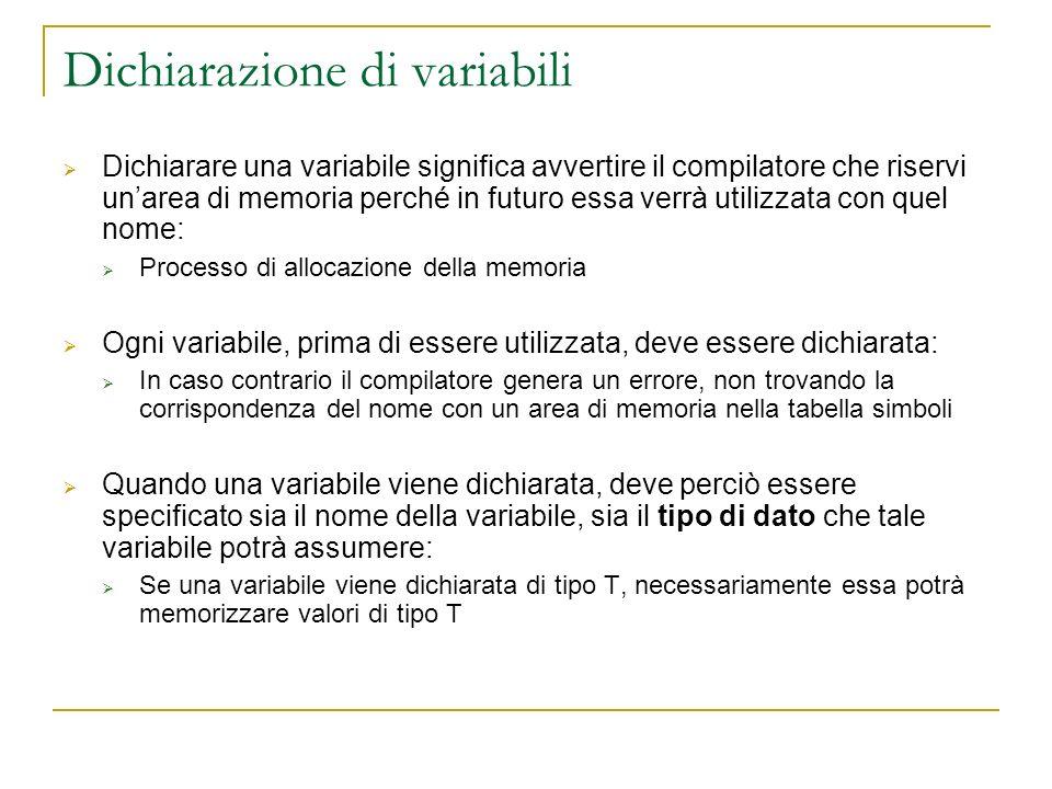Dichiarazione di variabili Dichiarare una variabile significa avvertire il compilatore che riservi unarea di memoria perché in futuro essa verrà utili
