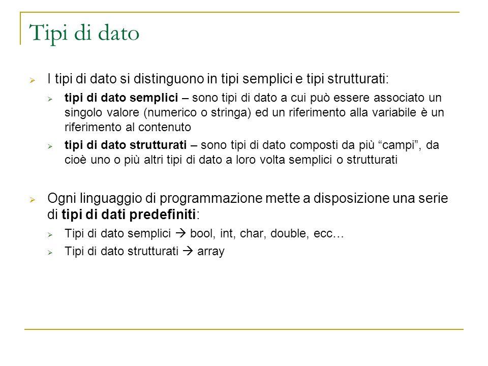 Tipi di dato I tipi di dato si distinguono in tipi semplici e tipi strutturati: tipi di dato semplici – sono tipi di dato a cui può essere associato u
