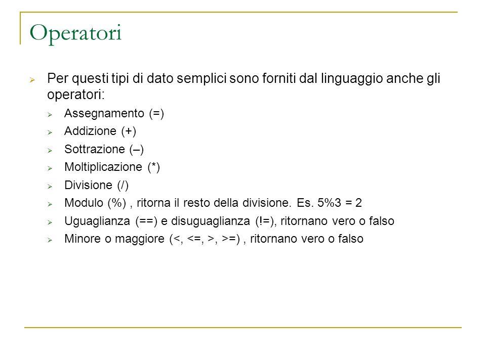 Operatori Per questi tipi di dato semplici sono forniti dal linguaggio anche gli operatori: Assegnamento (=) Addizione (+) Sottrazione (–) Moltiplicaz