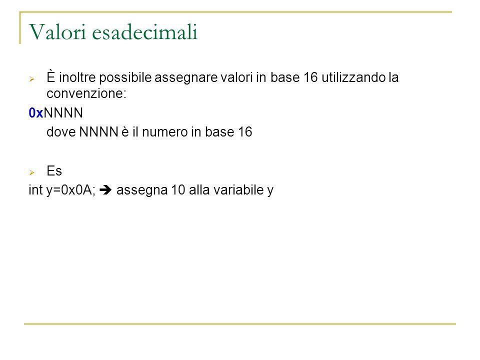 Valori esadecimali È inoltre possibile assegnare valori in base 16 utilizzando la convenzione: 0xNNNN dove NNNN è il numero in base 16 Es int y=0x0A;