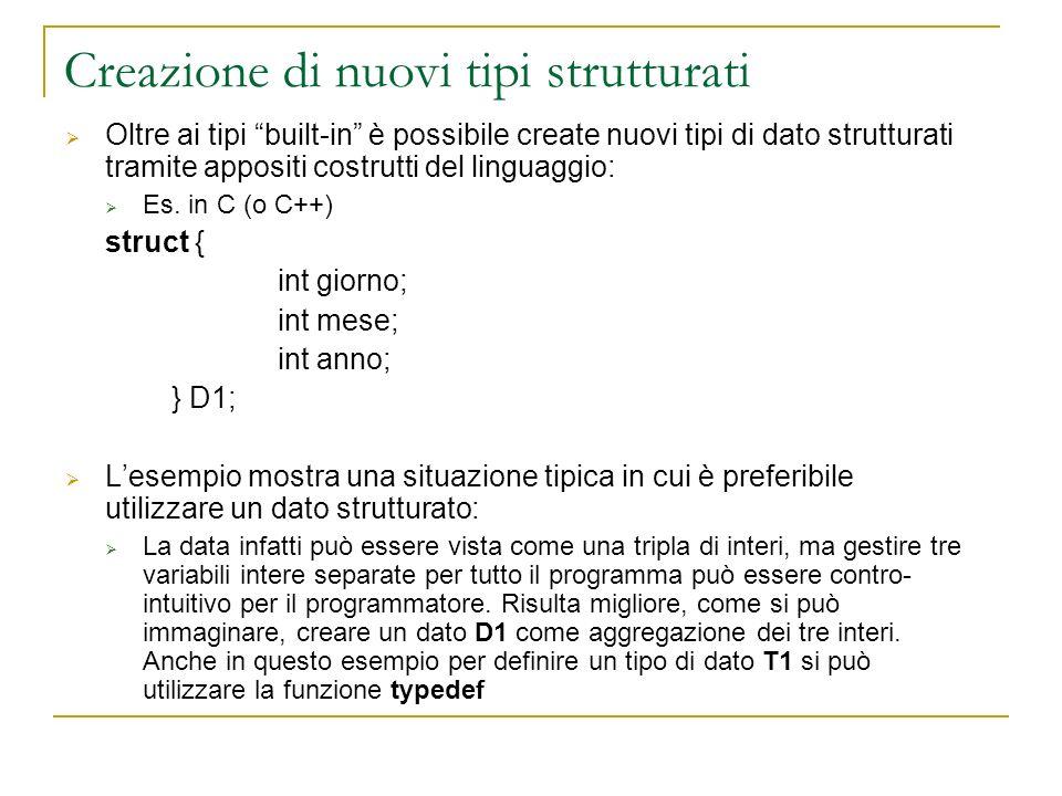 Creazione di nuovi tipi strutturati Oltre ai tipi built-in è possibile create nuovi tipi di dato strutturati tramite appositi costrutti del linguaggio
