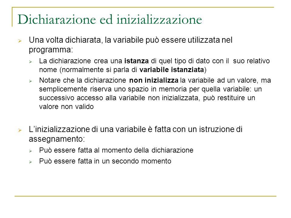 Dichiarazione ed inizializzazione Una volta dichiarata, la variabile può essere utilizzata nel programma: La dichiarazione crea una istanza di quel ti