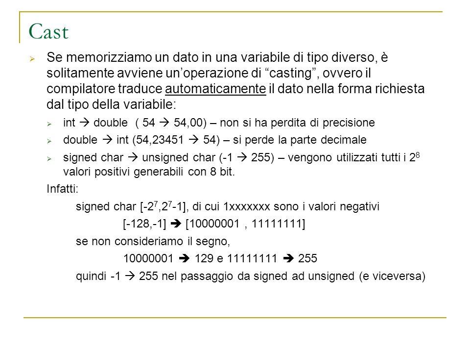 Cast Se memorizziamo un dato in una variabile di tipo diverso, è solitamente avviene unoperazione di casting, ovvero il compilatore traduce automatica