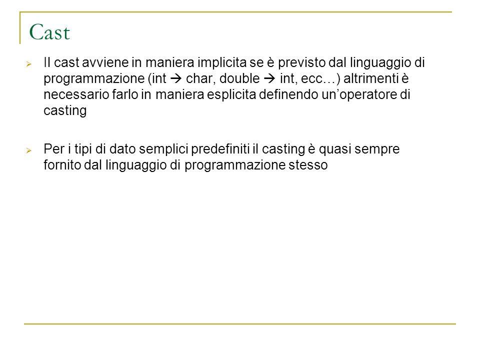 Cast Il cast avviene in maniera implicita se è previsto dal linguaggio di programmazione (int char, double int, ecc…) altrimenti è necessario farlo in