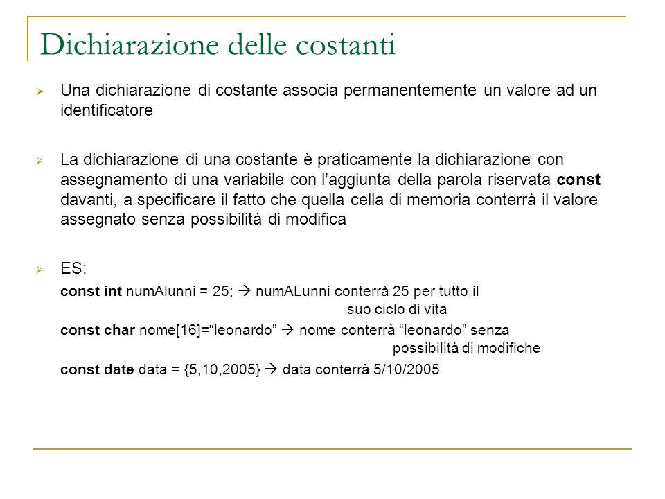 Dichiarazione delle costanti Una dichiarazione di costante associa permanentemente un valore ad un identificatore La dichiarazione di una costante è p