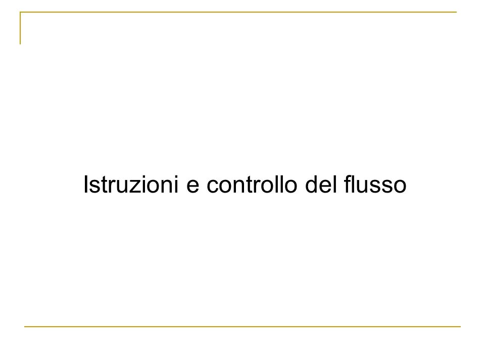 Istruzioni e controllo del flusso