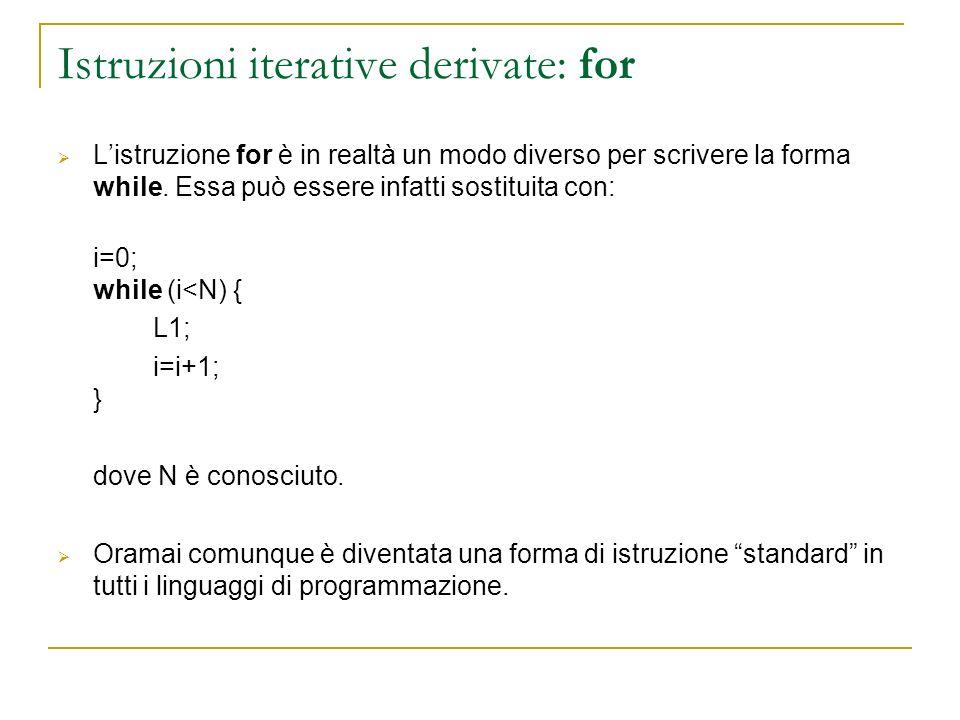 Istruzioni iterative derivate: for Listruzione for è in realtà un modo diverso per scrivere la forma while. Essa può essere infatti sostituita con: i=