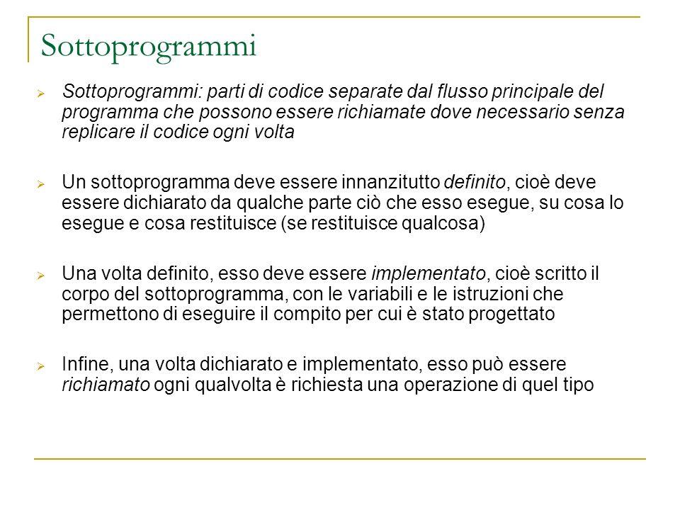 Sottoprogrammi Sottoprogrammi: parti di codice separate dal flusso principale del programma che possono essere richiamate dove necessario senza replic