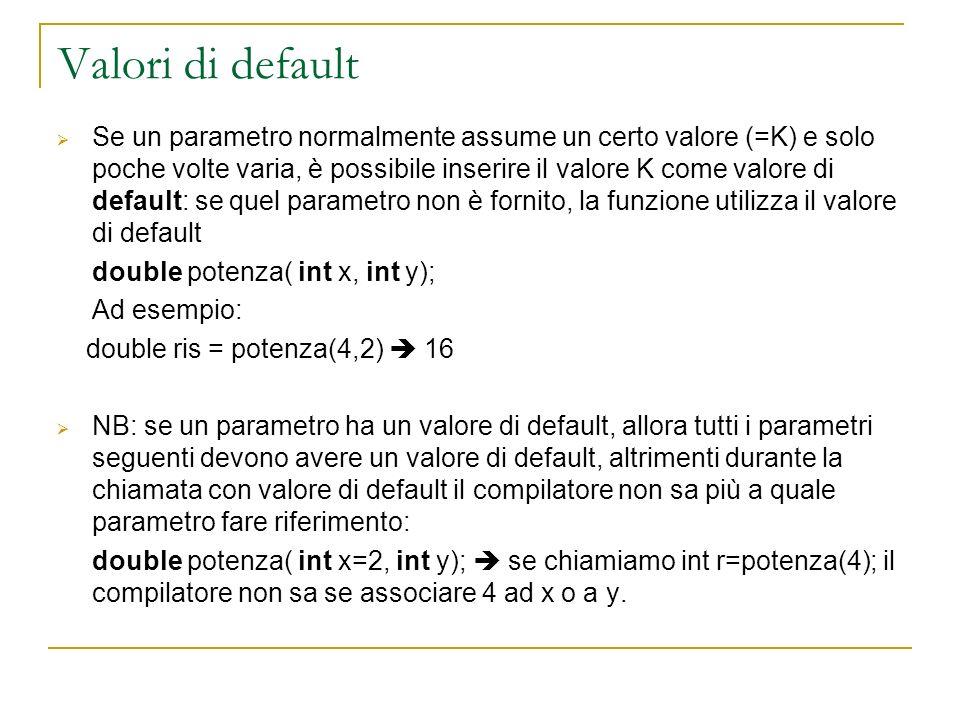 Valori di default Se un parametro normalmente assume un certo valore (=K) e solo poche volte varia, è possibile inserire il valore K come valore di de