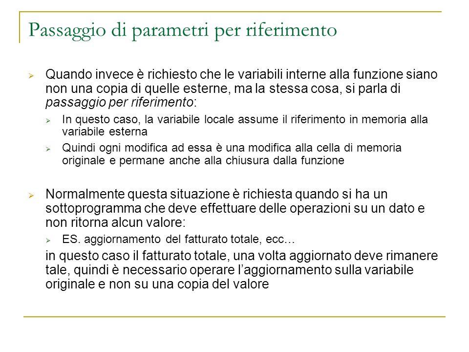 Passaggio di parametri per riferimento Quando invece è richiesto che le variabili interne alla funzione siano non una copia di quelle esterne, ma la s
