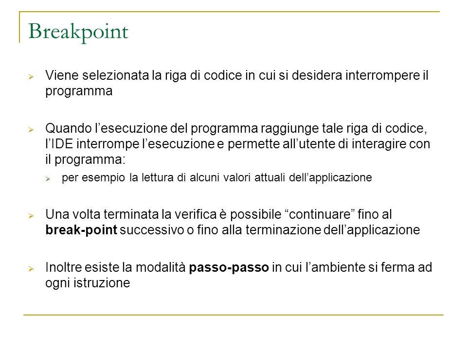 Breakpoint Viene selezionata la riga di codice in cui si desidera interrompere il programma Quando lesecuzione del programma raggiunge tale riga di co