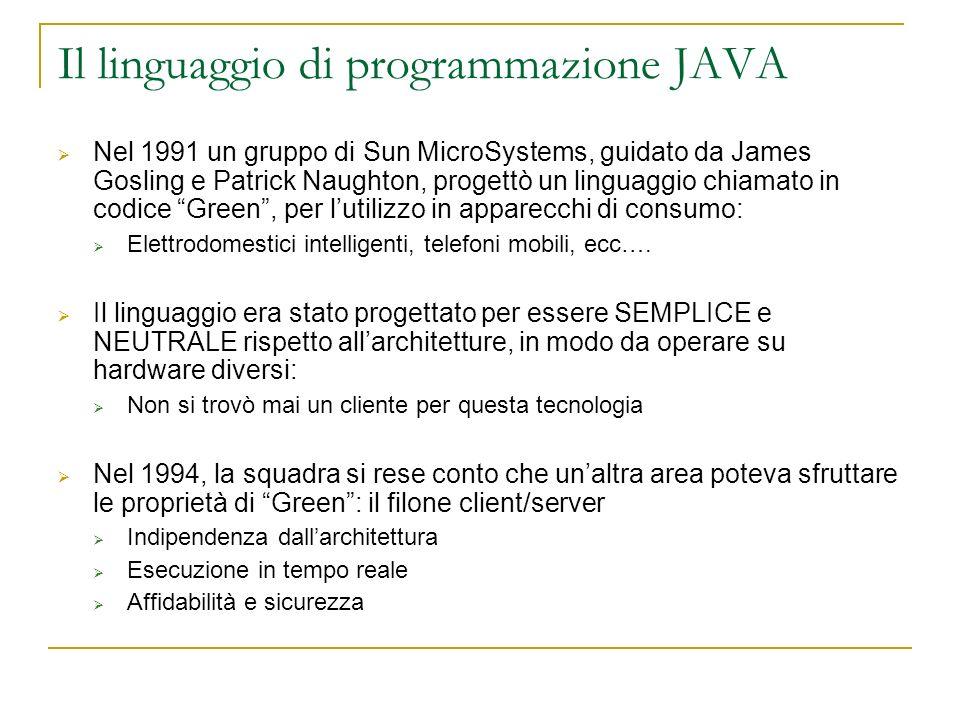 Il linguaggio di programmazione JAVA Nel 1991 un gruppo di Sun MicroSystems, guidato da James Gosling e Patrick Naughton, progettò un linguaggio chiamato in codice Green, per lutilizzo in apparecchi di consumo: Elettrodomestici intelligenti, telefoni mobili, ecc….