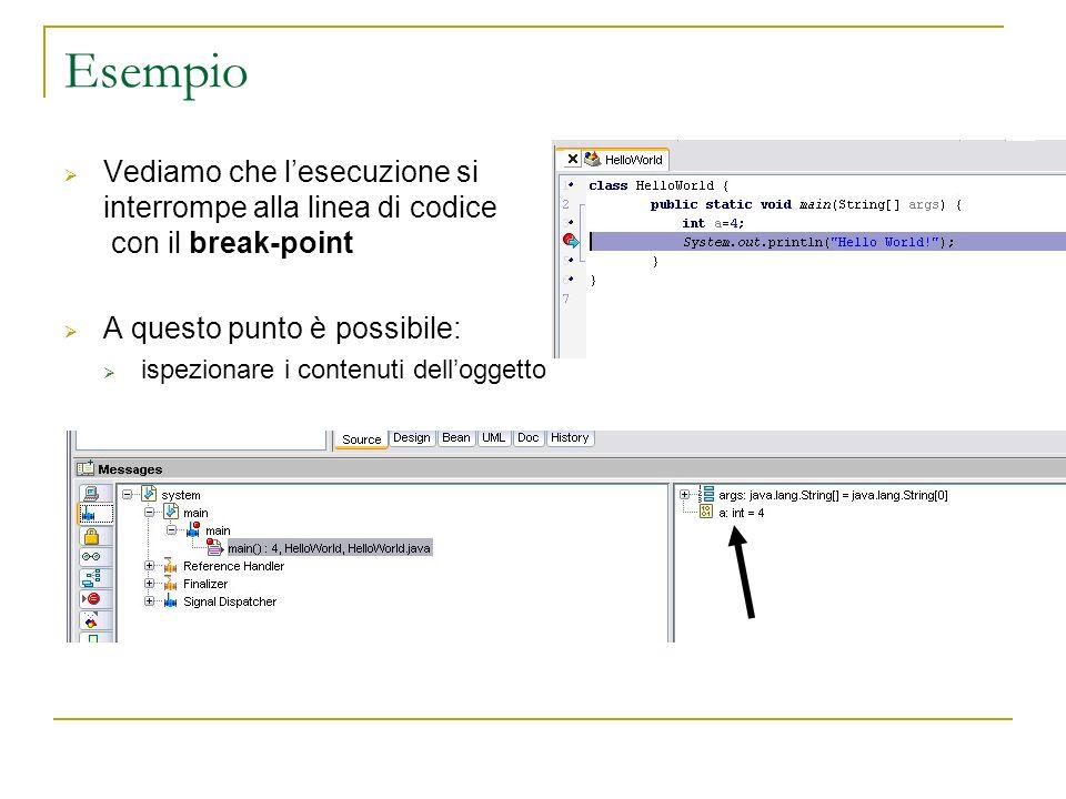 Esempio Vediamo che lesecuzione si interrompe alla linea di codice con il break-point A questo punto è possibile: ispezionare i contenuti delloggetto