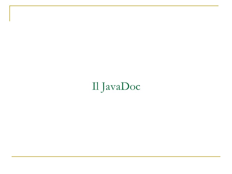 Il JavaDoc