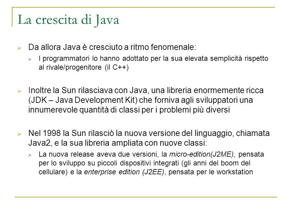 La crescita di Java Da allora Java è cresciuto a ritmo fenomenale: I programmatori lo hanno adottato per la sua elevata semplicità rispetto al rivale/progenitore (il C++) Inoltre la Sun rilasciava con Java, una libreria enormemente ricca (JDK – Java Development Kit) che forniva agli sviluppatori una innumerevole quantità di classi per i problemi più diversi Nel 1998 la Sun rilasciò la nuova versione del linguaggio, chiamata Java2, e la sua libreria ampliata con nuove classi: La nuova release aveva due versioni, la micro-edition(J2ME), pensata per lo sviluppo su piccoli dispositivi integrati (gli anni del boom del cellulare) e la enterprise edition (J2EE), pensata per le workstation