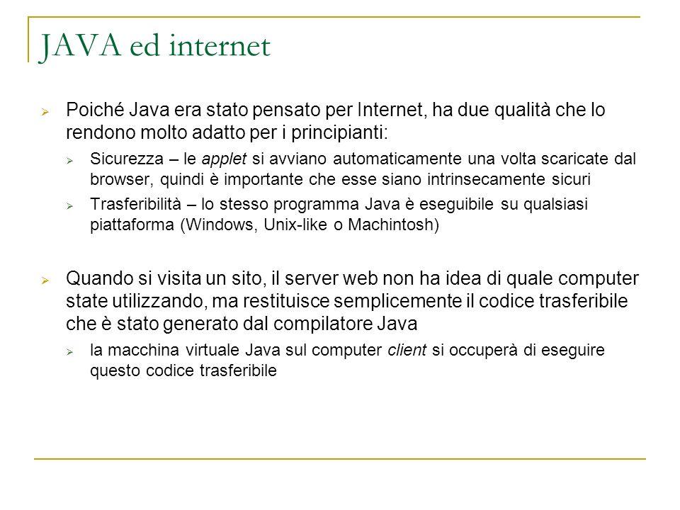 JAVA ed internet Poiché Java era stato pensato per Internet, ha due qualità che lo rendono molto adatto per i principianti: Sicurezza – le applet si a