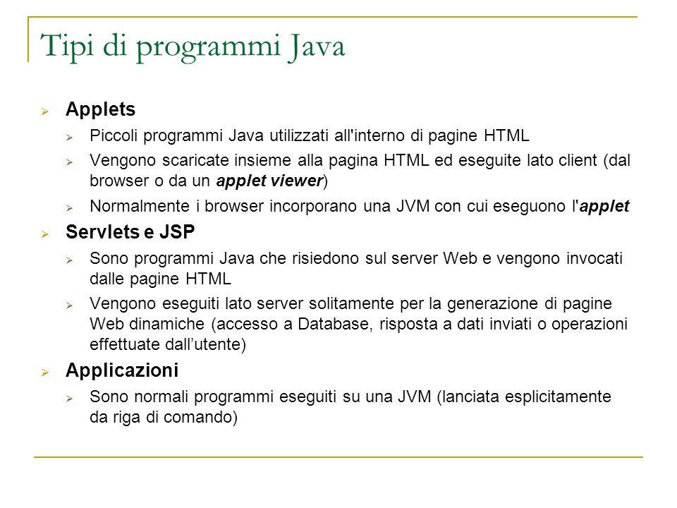 Tipi di programmi Java Applets Piccoli programmi Java utilizzati all'interno di pagine HTML Vengono scaricate insieme alla pagina HTML ed eseguite lat