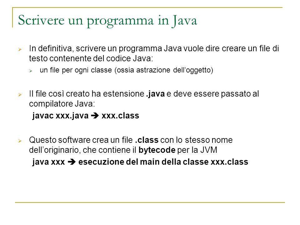 Scrivere un programma in Java In definitiva, scrivere un programma Java vuole dire creare un file di testo contenente del codice Java: un file per ogni classe (ossia astrazione delloggetto) Il file così creato ha estensione.java e deve essere passato al compilatore Java: javac xxx.java xxx.class Questo software crea un file.class con lo stesso nome delloriginario, che contiene il bytecode per la JVM java xxx esecuzione del main della classe xxx.class
