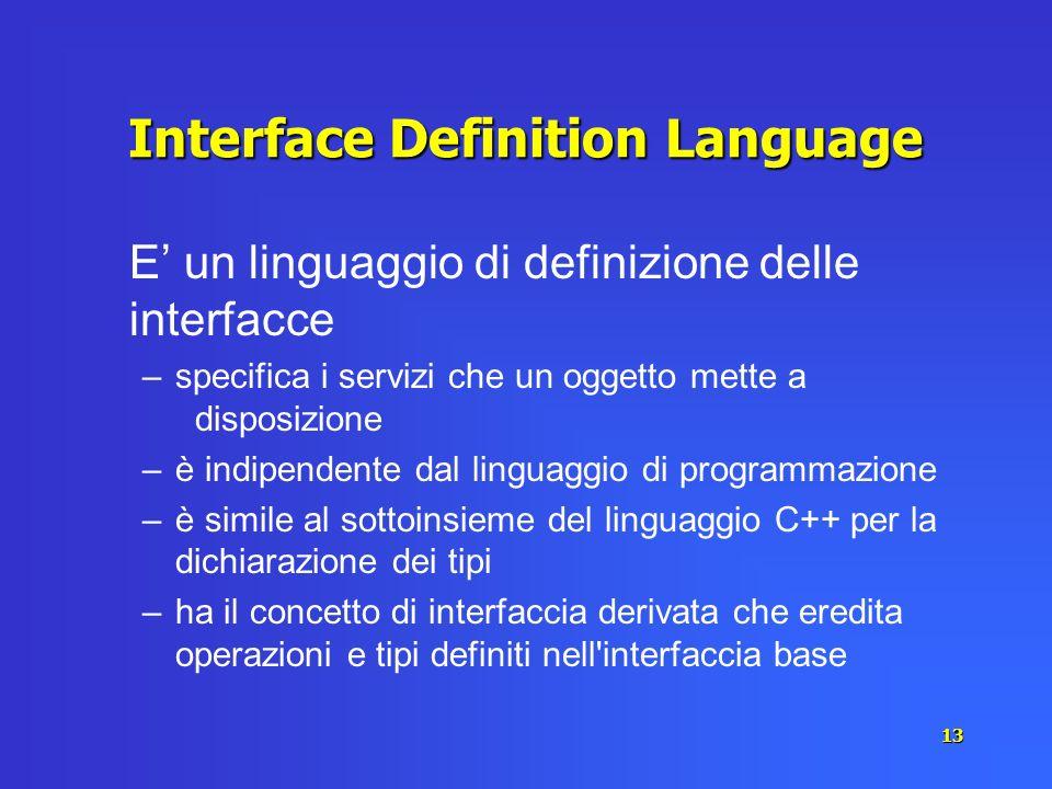 13 Interface Definition Language E un linguaggio di definizione delle interfacce –specifica i servizi che un oggetto mette a disposizione –è indipende