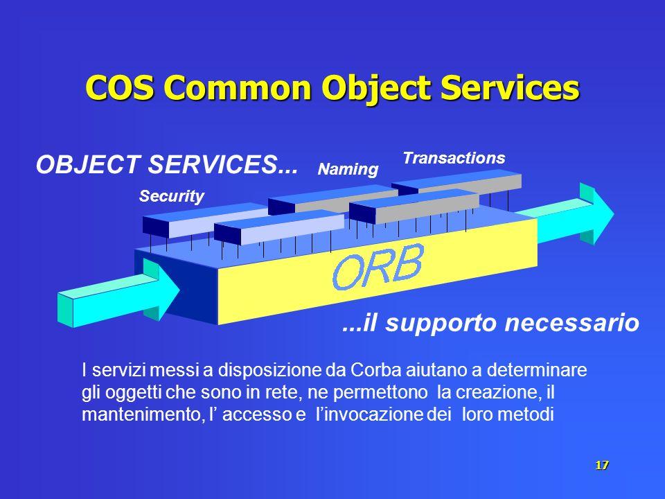 17 COS Common Object Services I servizi messi a disposizione da Corba aiutano a determinare gli oggetti che sono in rete, ne permettono la creazione,