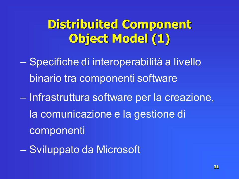 21 Distribuited Component Object Model (1) –Specifiche di interoperabilità a livello binario tra componenti software –Infrastruttura software per la c