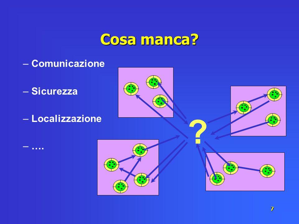 7 Cosa manca? ? – Comunicazione – Sicurezza – Localizzazione – ….