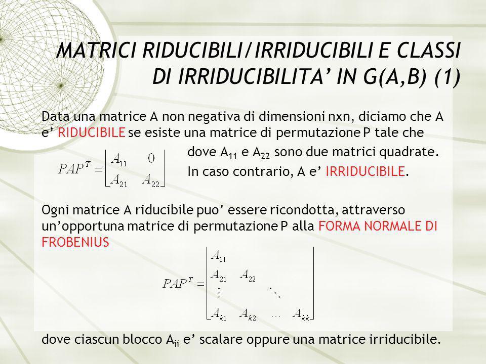 MATRICI RIDUCIBILI/IRRIDUCIBILI E CLASSI DI IRRIDUCIBILITA IN G(A,B) (1) Data una matrice A non negativa di dimensioni nxn, diciamo che A e RIDUCIBILE se esiste una matrice di permutazione P tale che dove A 11 e A 22 sono due matrici quadrate.