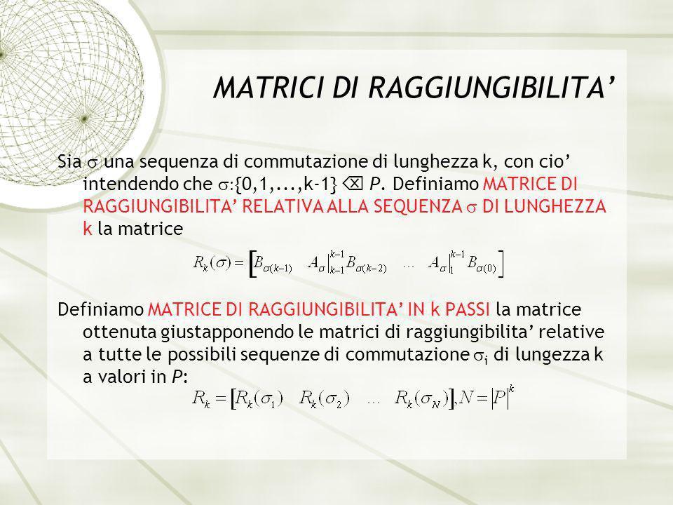 MATRICI DI RAGGIUNGIBILITA Sia una sequenza di commutazione di lunghezza k, con cio intendendo che {0,1,...,k-1} P.