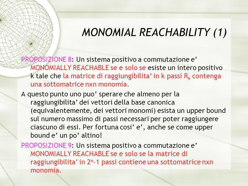 MONOMIAL REACHABILITY (1) PROPOSIZIONE 8: Un sistema positivo a commutazione e MONOMIALLY REACHABLE se e solo se esiste un intero positivo k tale che la matrice di raggiungibilita in k passi R k contenga una sottomatrice nxn monomia.