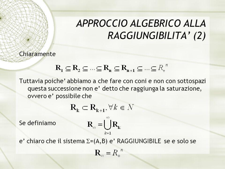 APPROCCIO ALGEBRICO ALLA RAGGIUNGIBILITA (3) PROPOSIZIONE 1: Il sistema e raggiungibile se solo se tutti i vettori della base canonica e i sono raggiungibili (MONOMIAL REACHABILITY).