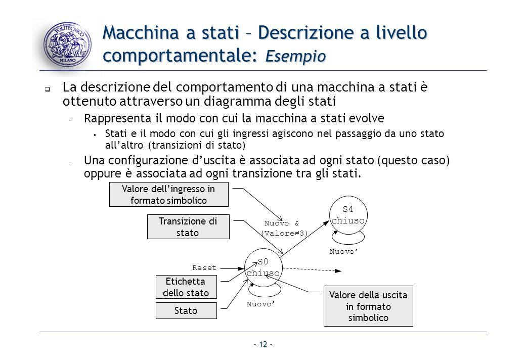 - 12 - Macchina a stati – Descrizione a livello comportamentale: Esempio La descrizione del comportamento di una macchina a stati è ottenuto attravers