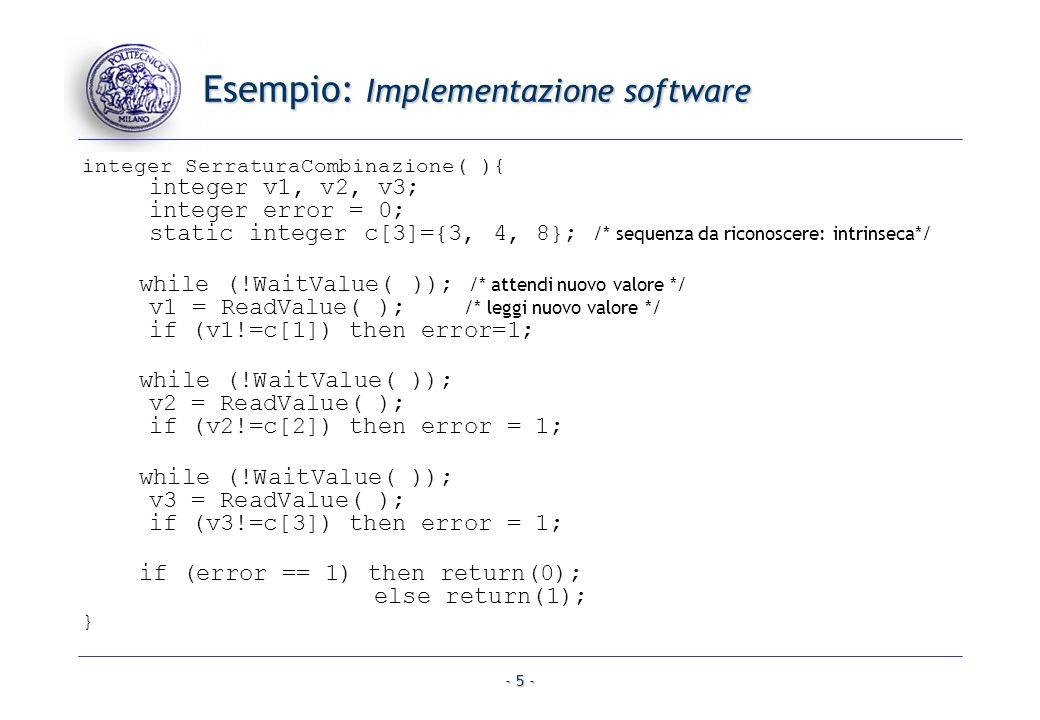 - 5 - Esempio: Implementazione software integer SerraturaCombinazione( ){ integer v1, v2, v3; integer error = 0; static integer c[3]={3, 4, 8}; /* seq