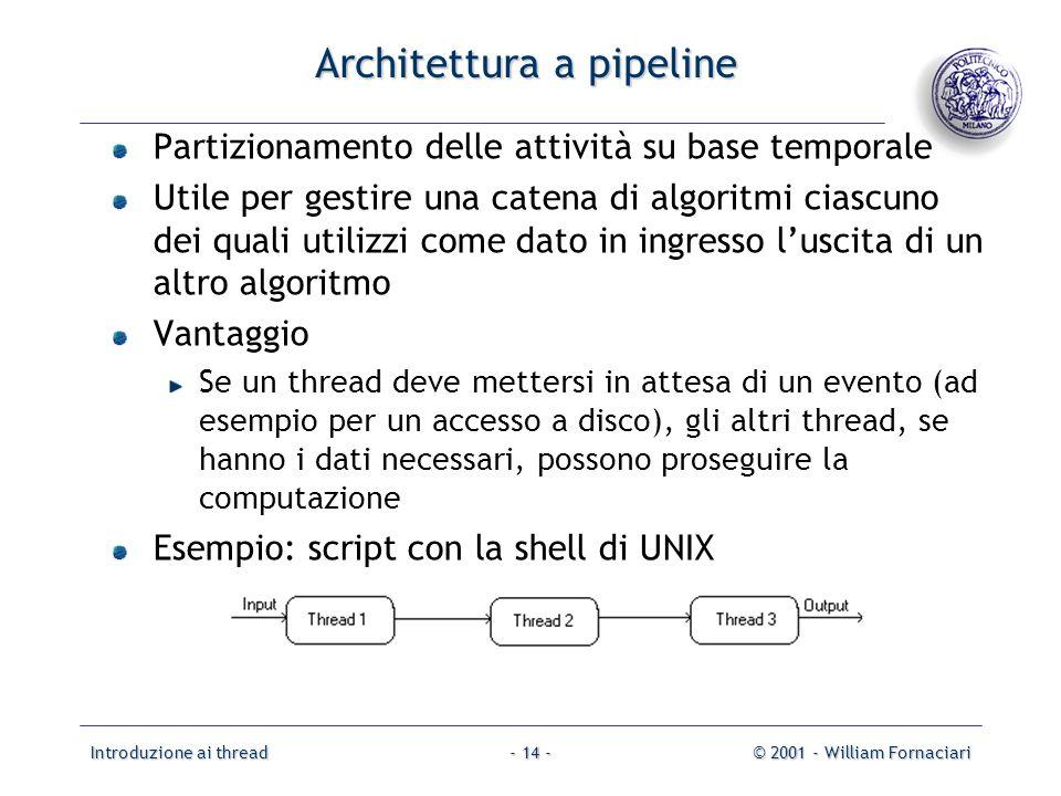 Introduzione ai thread© 2001 - William Fornaciari- 14 - Architettura a pipeline Partizionamento delle attività su base temporale Utile per gestire una