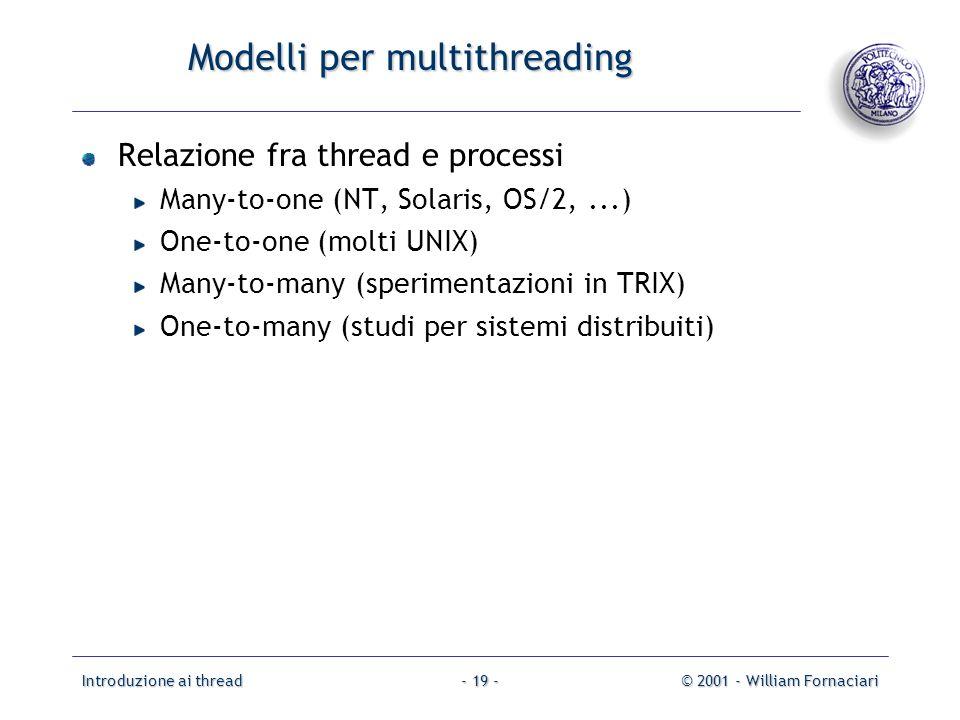 Introduzione ai thread© 2001 - William Fornaciari- 19 - Modelli per multithreading Relazione fra thread e processi Many-to-one (NT, Solaris, OS/2,...) One-to-one (molti UNIX) Many-to-many (sperimentazioni in TRIX) One-to-many (studi per sistemi distribuiti)