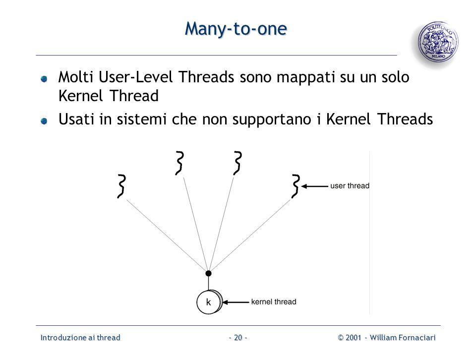 Introduzione ai thread© 2001 - William Fornaciari- 20 - Many-to-one Molti User-Level Threads sono mappati su un solo Kernel Thread Usati in sistemi che non supportano i Kernel Threads