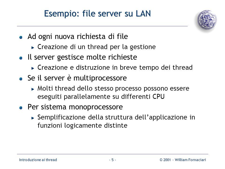 Introduzione ai thread© 2001 - William Fornaciari- 5 - Esempio: file server su LAN Ad ogni nuova richiesta di file Creazione di un thread per la gesti
