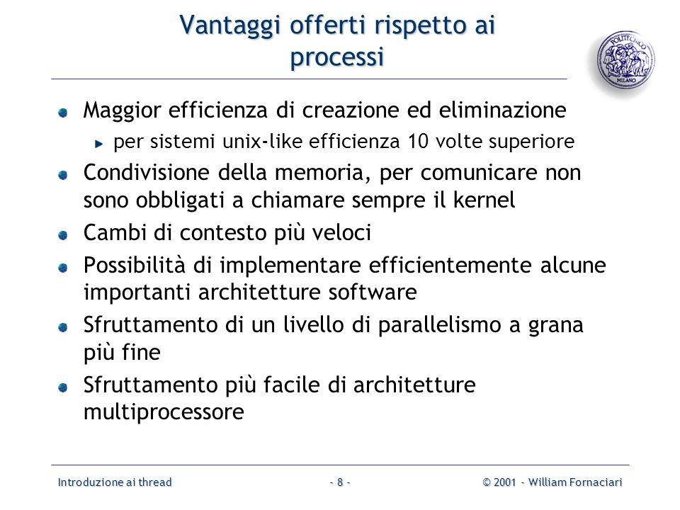 Introduzione ai thread© 2001 - William Fornaciari- 8 - Vantaggi offerti rispetto ai processi Maggior efficienza di creazione ed eliminazione per siste