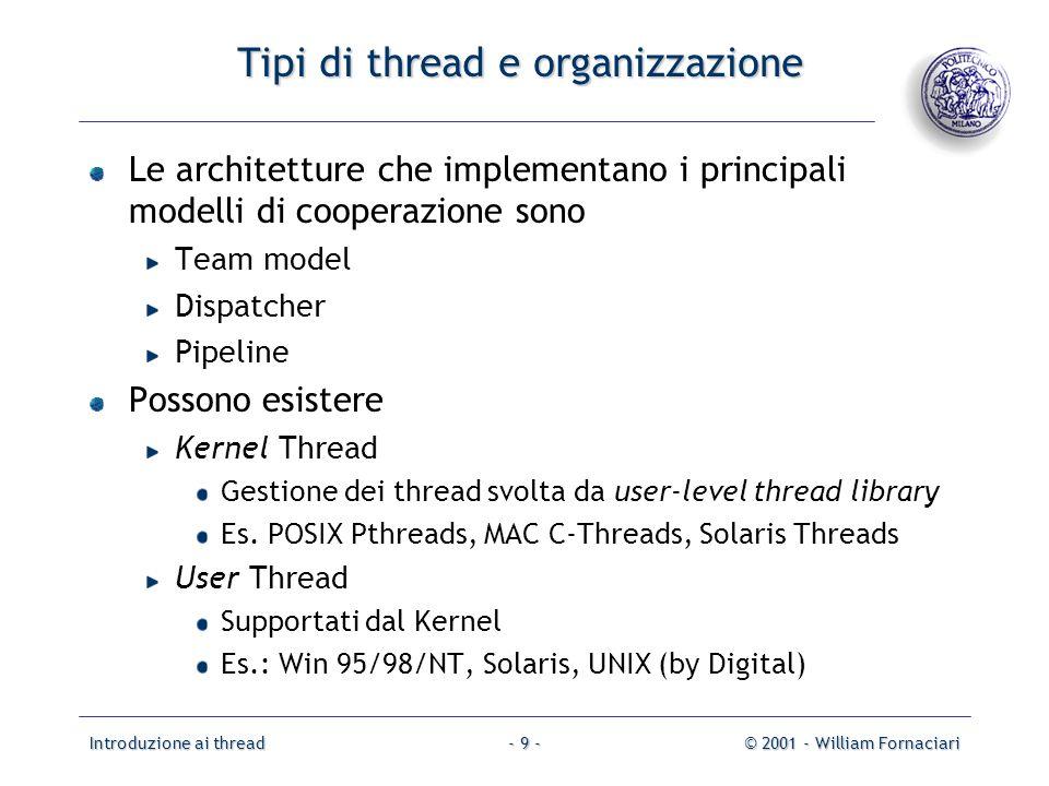 Introduzione ai thread© 2001 - William Fornaciari- 9 - Tipi di thread e organizzazione Le architetture che implementano i principali modelli di cooper