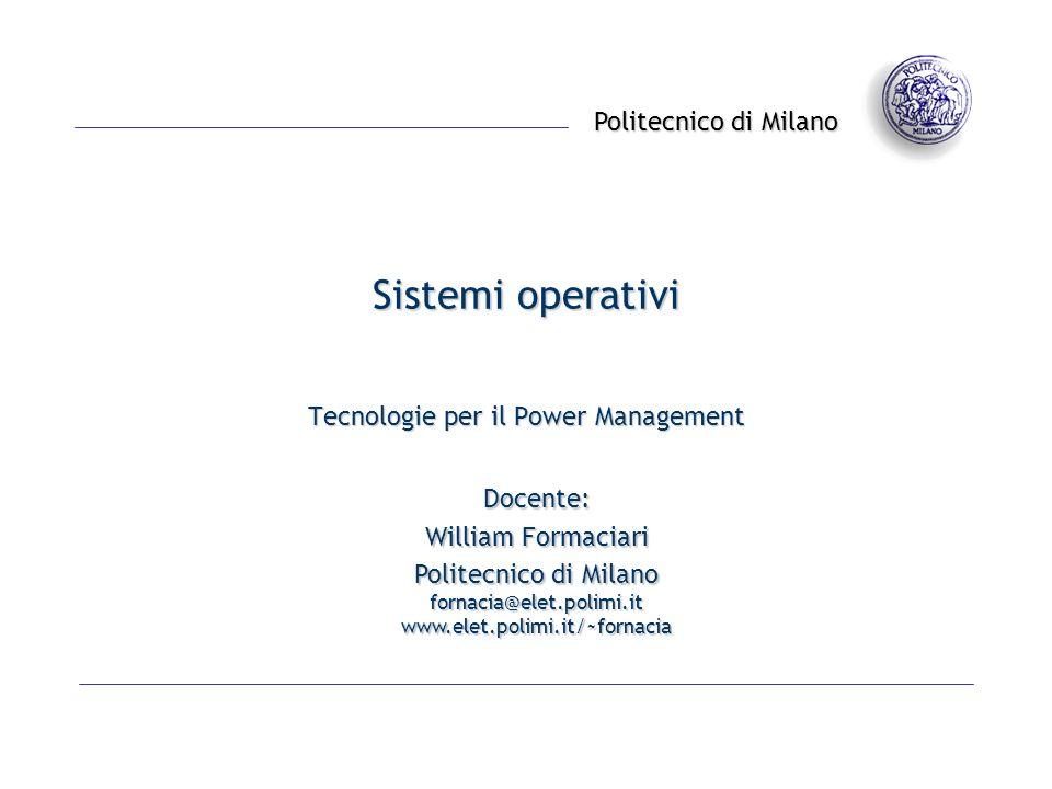 Tecnologie per il Power Management© 2002 - William Fornaciari- 12 - ACPI – Plug and Play e System Events LACPI è usato anche per lenumerazione e la configurazione dei dispositivi del sitema (assegnazione numeri di IRQ ed indirizzi di I/O) Permette una gestione più robusta del Plug and Play, precedentemente gestito con le specifiche PNPBIOS in modo assai poco affidabile (nickname Plug and Pray…) Definisce un unico modello di eventi per il Plug and Play, per il PM e per la gestione della temperatura Basato su System Control Interrupt (SCI) e registri hw che indicano levento accaduto LOS risponde allinterrupt lanciando opportuni metodi di controllo