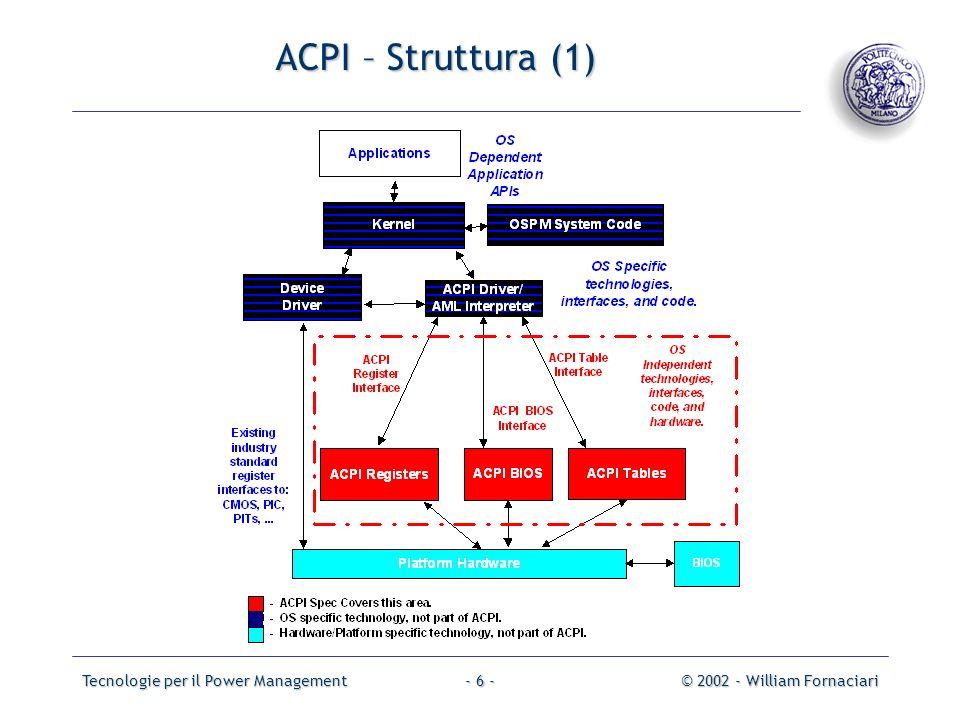 Tecnologie per il Power Management© 2002 - William Fornaciari- 17 - ACPI – Specifiche software (1) LOS riceve le informazioni sulle capacità di PM del sistema dalle System Description Tables Memorizzate in parte nella memoria del sistema, in parte nellarea dati del BIOS Implementate con una struttura dati ad albero Da queste tabelle lOS costruisce lACPI Namescpace Struttura gerarchica che mantiene i riferimenti agli oggetti dellarchitettura ACPI Vi si possono dinamicamente aggiungere/cancellare oggetti Supporta lhot/warm/cold plug/removal ossia linserimento e la rimozione di dispositivi mentre il sistema è in stato di working/sleeping/off