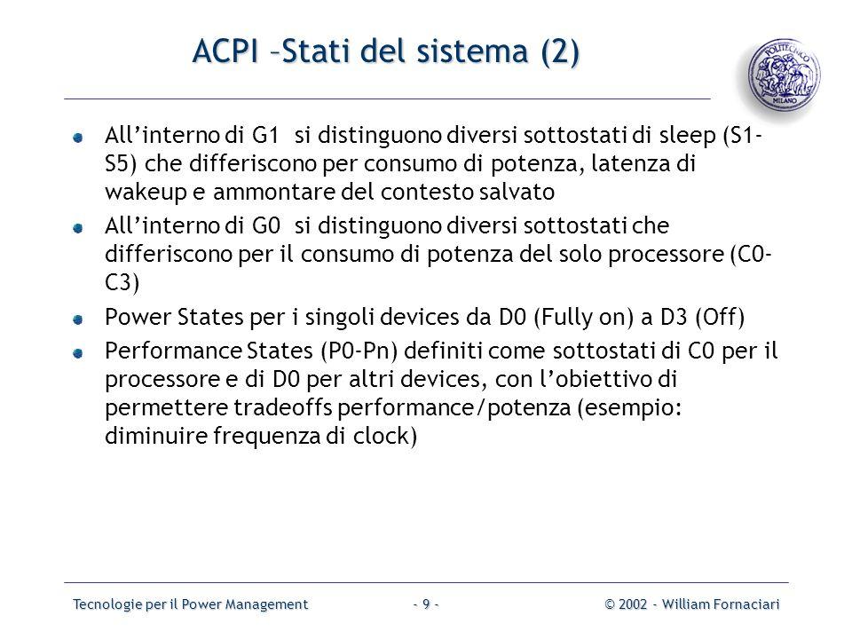 Tecnologie per il Power Management© 2002 - William Fornaciari- 10 - ACPI – Global System Management