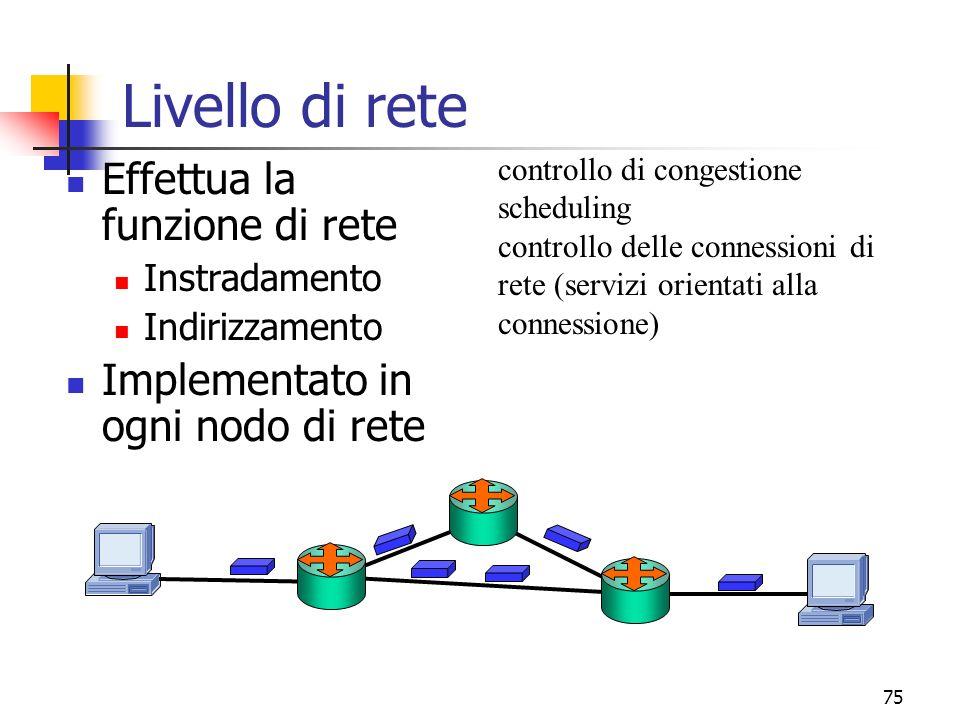 75 Livello di rete Effettua la funzione di rete Instradamento Indirizzamento Implementato in ogni nodo di rete controllo di congestione scheduling controllo delle connessioni di rete (servizi orientati alla connessione)