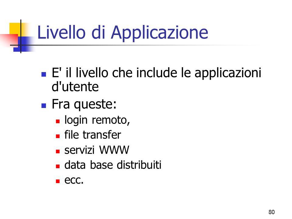 80 Livello di Applicazione E il livello che include le applicazioni d utente Fra queste: login remoto, file transfer servizi WWW data base distribuiti ecc.
