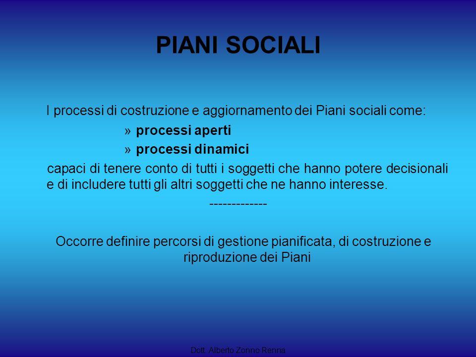 PIANI SOCIALI I processi di costruzione e aggiornamento dei Piani sociali come: »processi aperti »processi dinamici capaci di tenere conto di tutti i