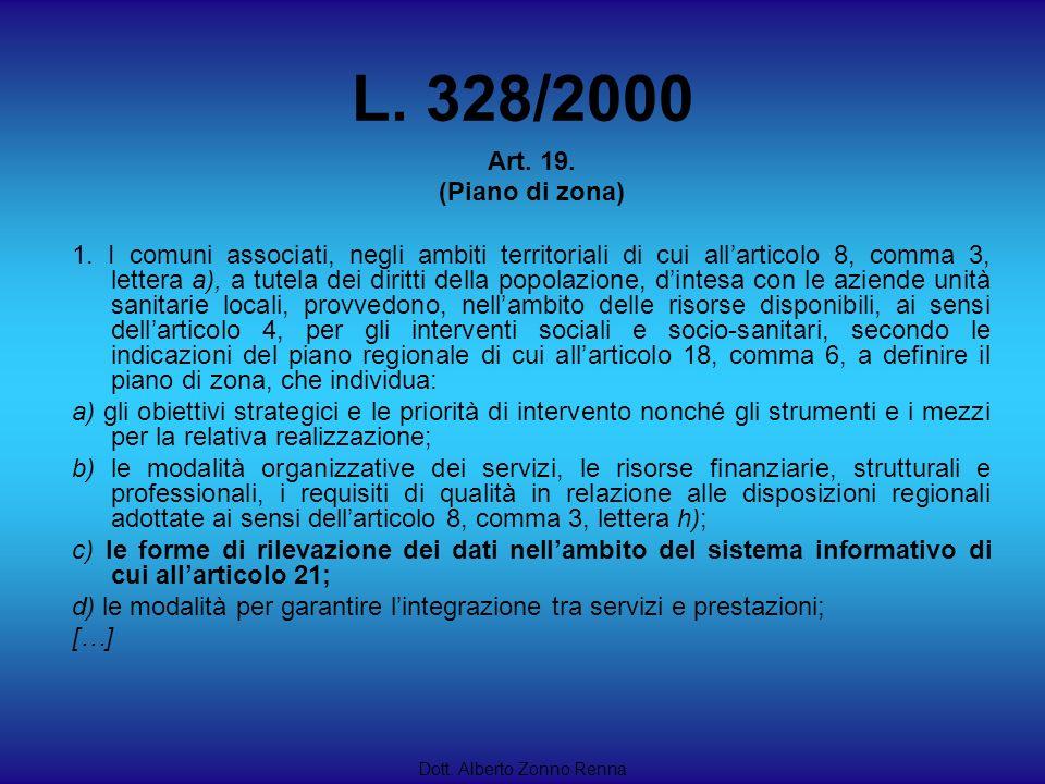 L. 328/2000 Dott. Alberto Zonno Renna Art. 19. (Piano di zona) 1. I comuni associati, negli ambiti territoriali di cui allarticolo 8, comma 3, lettera